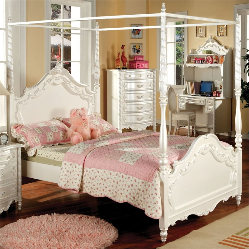 Furniture of America Minerva Full Canopy Bed in Pearl White