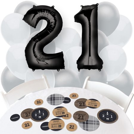 Finally 21 - Confetti and Balloon 21st Birthday Party Decorations - Combo Kit (21st Birthday Balloons)