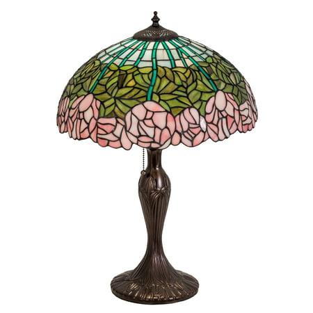 Meyda Tiffany - 31143 - One Light Table Lamp - Cabbage Rose - Mahogany Bronze-135pack