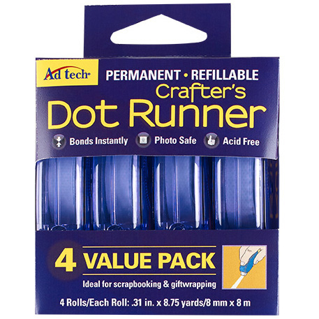 AdTech Dot Runner Permanent Tape, 4-Pack
