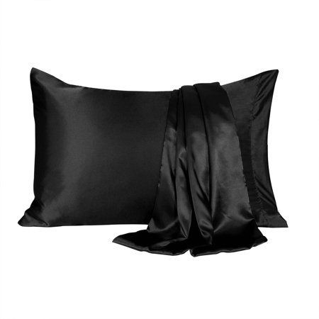 - Charmeuse Satin Pillowcase for Hair and Face, 2 Pack Soft Cooling Pillow Slip Covers Black King Size Pillow Cases 20x40