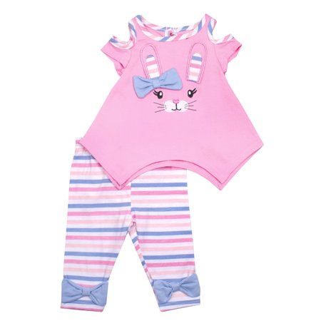 Nannette Cold Shoulder Bunny Top & Capri Leggings, 2pc Outfit Set (Baby Girls & Toddler Girls)