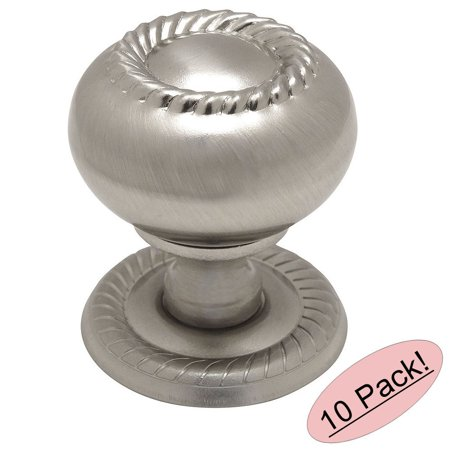 Ornate Knob Backplate (Cosmas 4040SN Satin Nickel Rope / Scroll Cabinet Hardware Knob with Matching Backplate - 1-1/4