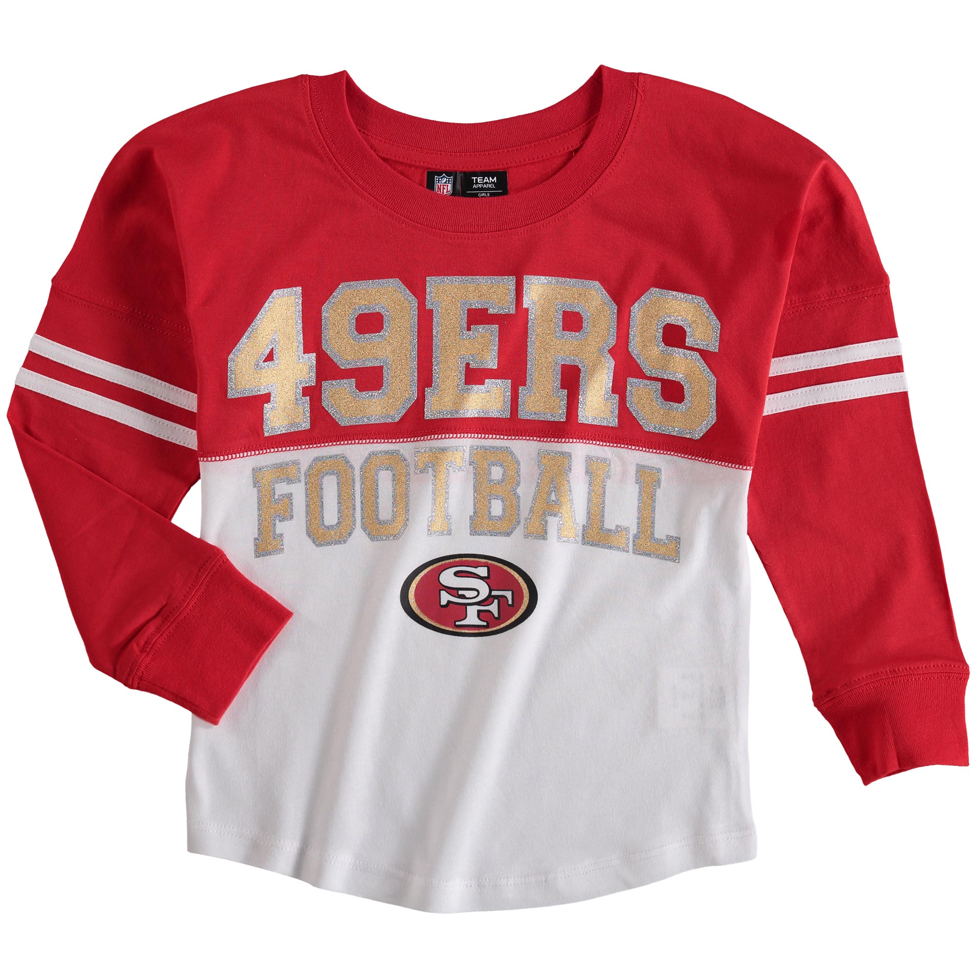 San Francisco 49ers 5th & Ocean by New Era Girls Youth Varsity Long Sleeve T-Shirt - White/Scarlet