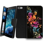 Apple iPhone 7 Plus Wallet & Kickstand Case Combo [CLIP FOLIO] Magnetic Shut Secure Wallet Case Cover for iPhone 7 Plus 2017, iPhone 7 Plus Folio Cover - Cascading Flowers