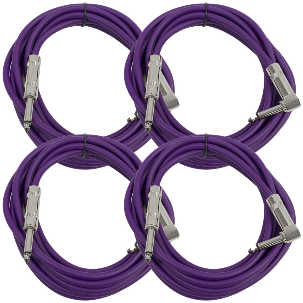 "Seismic Audio 4 Pack - 10' Purple Guitar Cable TS 1/4"" to Right Angle - Instrument Cord - SAGC10R-Purple-4Pack"