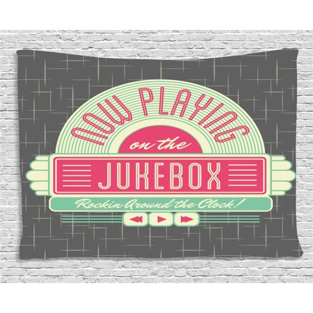 Mint Green And Pink (Jukebox Tapestry, Charcoal Grey Backdrop with 50s Inspired Radio Music Box Image, Wall Hanging for Bedroom Living Room Dorm Decor, 60W X 40L Inches, Mint Green Hot Pink and White,)