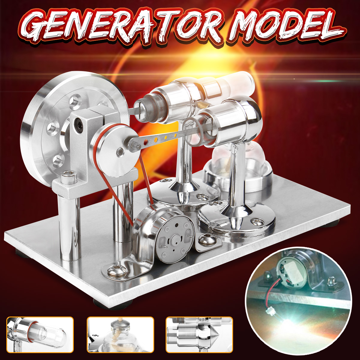 Hot Air Stirling Engine Model Power Generator Motor Educational Steam Power Toy with LED Light + Heating Glass Tube
