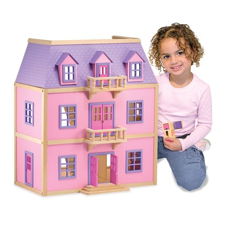 Melissa Doug Multi Level Wooden Dollhouse With 19 Pieces Of Furniture And 2 Play Figures
