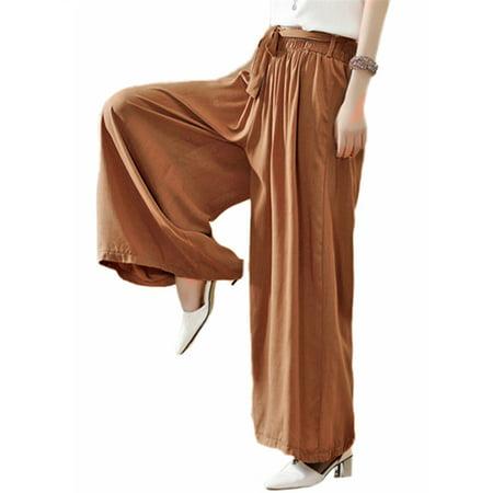 - Women's Elastic Waist Loose Palazzo Wide Leg Pants