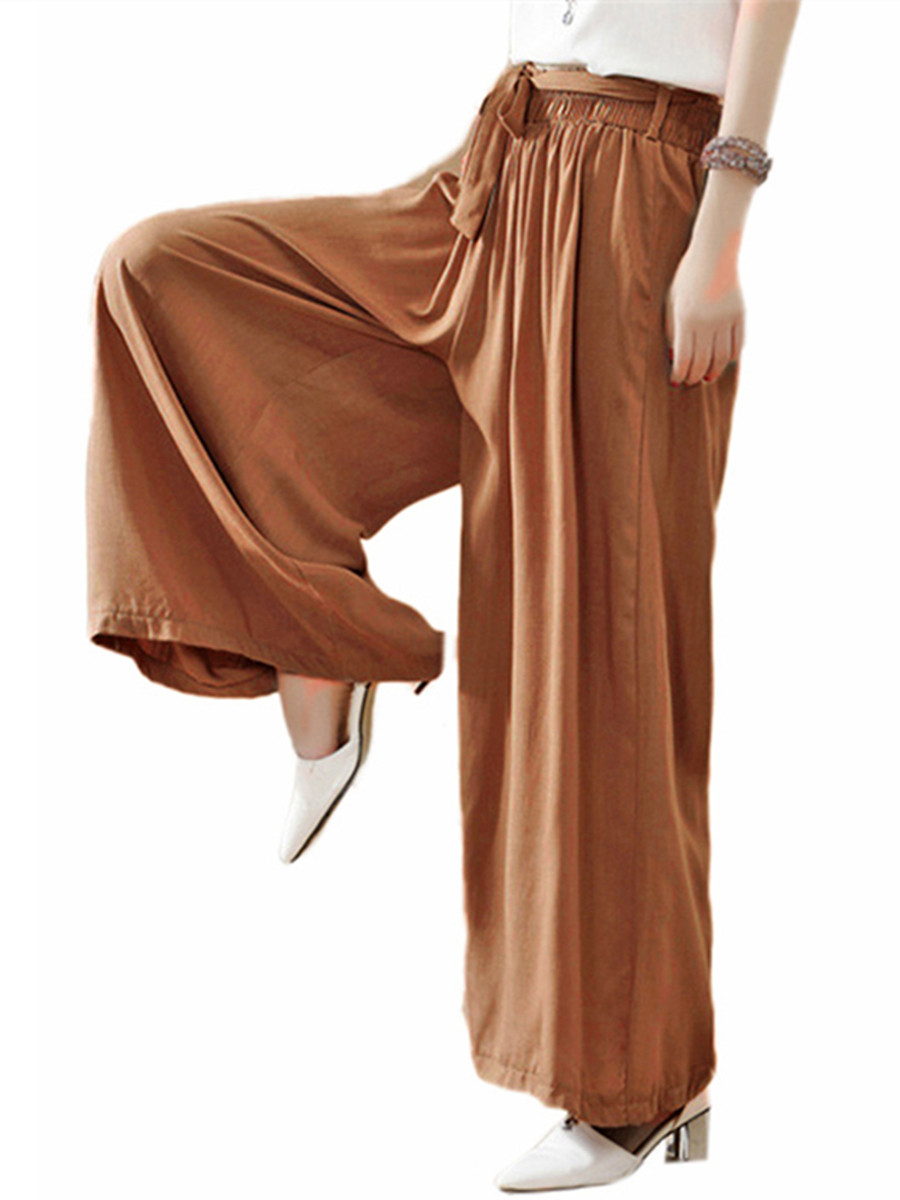 Women's Elastic Waist Loose Palazzo Wide Leg Pants