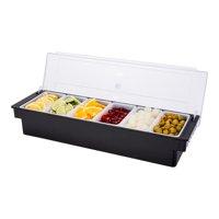 "Bar Lux Black Plastic Condiment Caddy - 6 Compartments - 19 1/2"" x 6 1/4"" x 3 3/4"" - 1 count box"