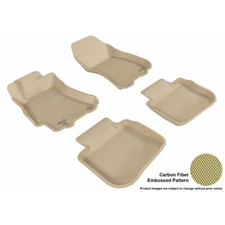 3D Maxpider 2010 2014 Subaru Legacy Front   Second Row Set All Weather Floor Liners In Tan With Carbon Fiber Look