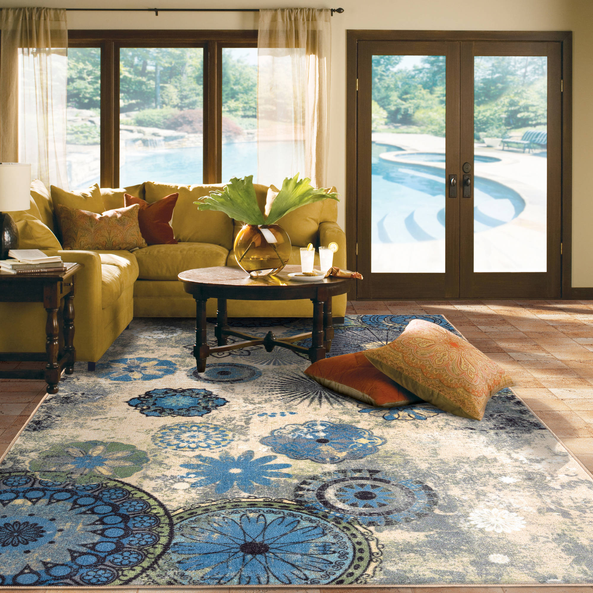 Area Rug Carpet For Home Living Room Office Family Decor 5x7 Blue Medallion