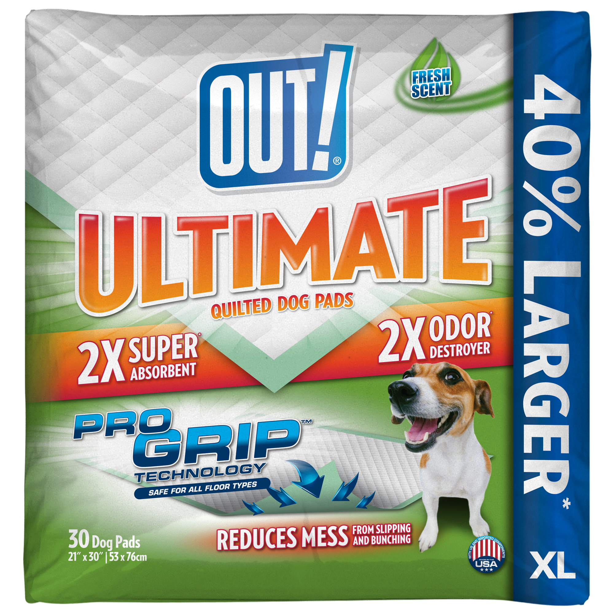 OUT! Ultimate Pro-Grip XL Dog Pads, 21 x 30, 30 pads