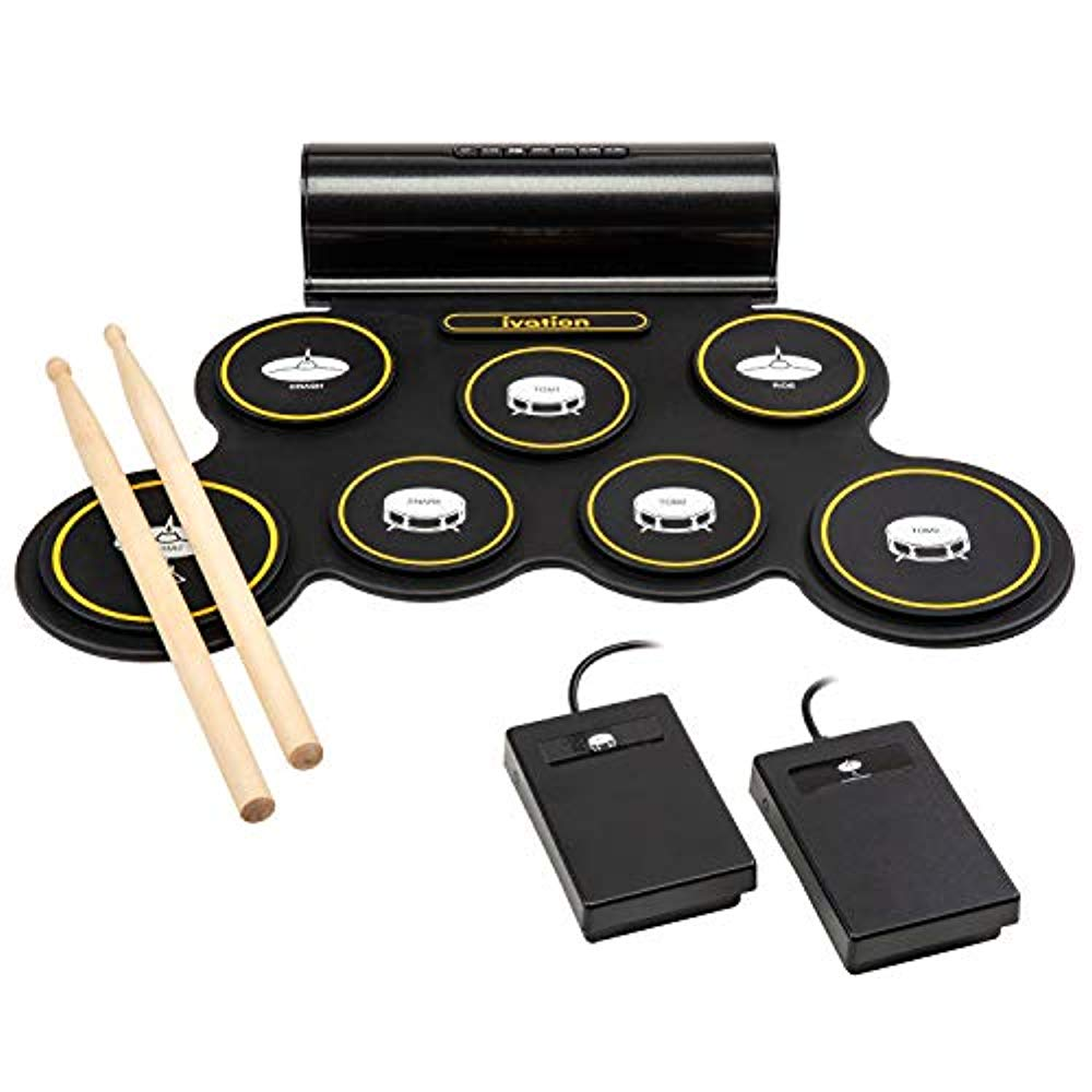 Ivation Portable Electronic Drum Pad - Digital Roll-Up Touch Sensitive Drum Practice Kit - 7 Labeled Pads 2 Foot Pedals Kids Children Beginners (With Speaker and Built in Rechargeable Battery)