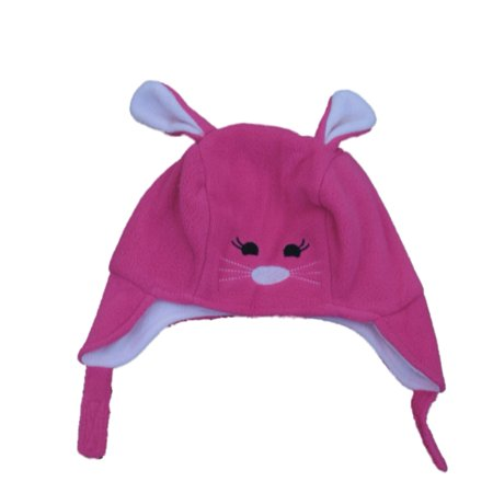 CP Infant Girls Pink Fleece Kitty Cat Peruvian Trapper Hat -