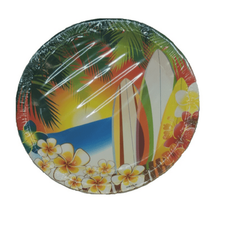 Hawaii Luau Tropical Surfing Party Large 9 Inch Round Lunch Dinner Plates](Luau Paper Plates)