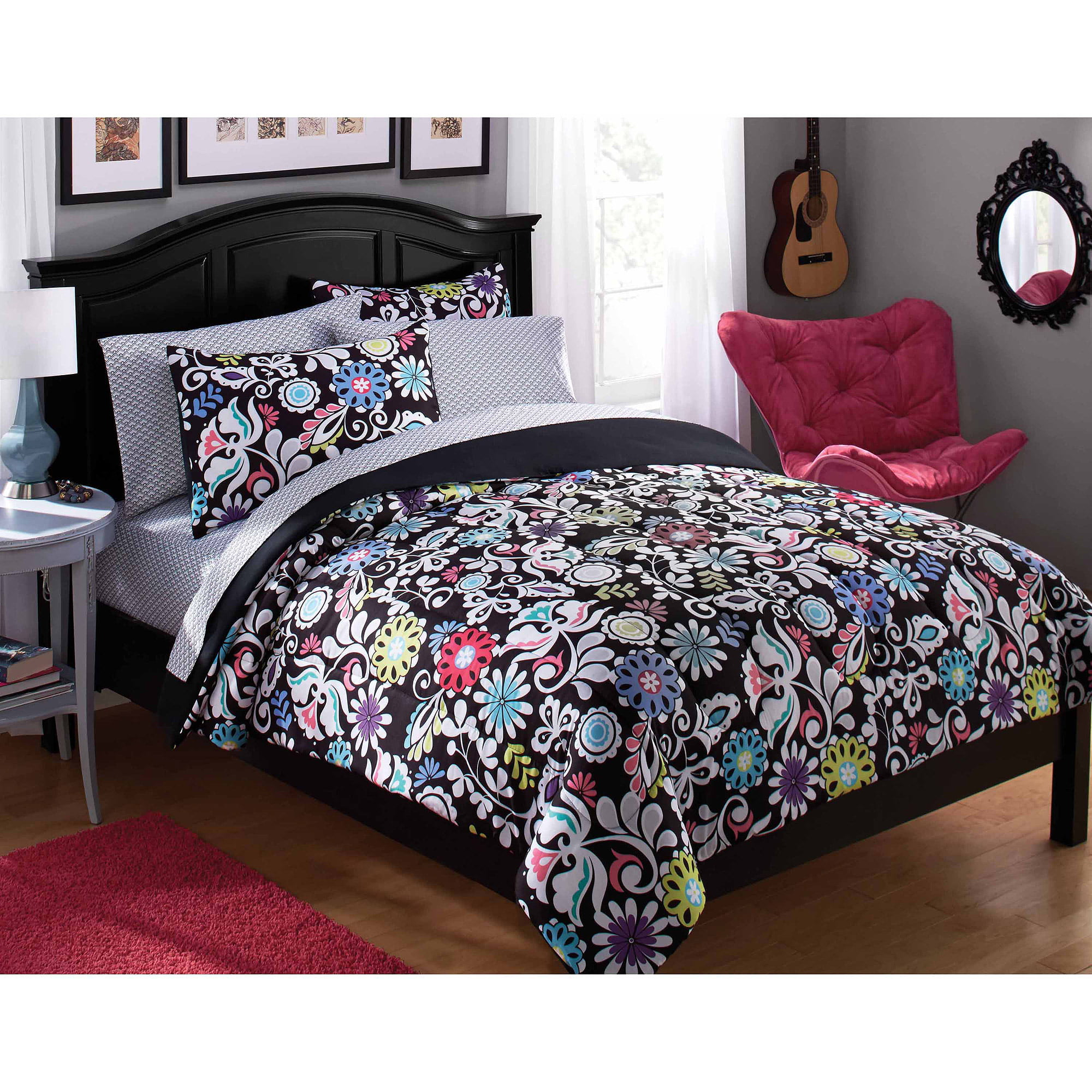 Bedding sets for teenage girls walmart - Your Zone Paradise Bed In A Bag Black