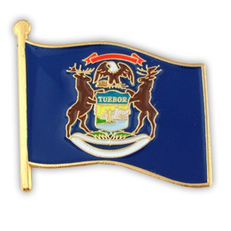 PinMart's Michigan US State Flag MI Enamel Lapel Pin 1