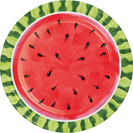 Pack of 96 Green and Red Watermelon Whimsy Printed Dinner Plate 8.875