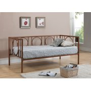 twin size copper metal day bed frame with headboard footboard rails slats
