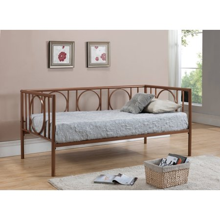 Twin Size Copper Metal Day Bed Frame With Headboard, Footboard ...