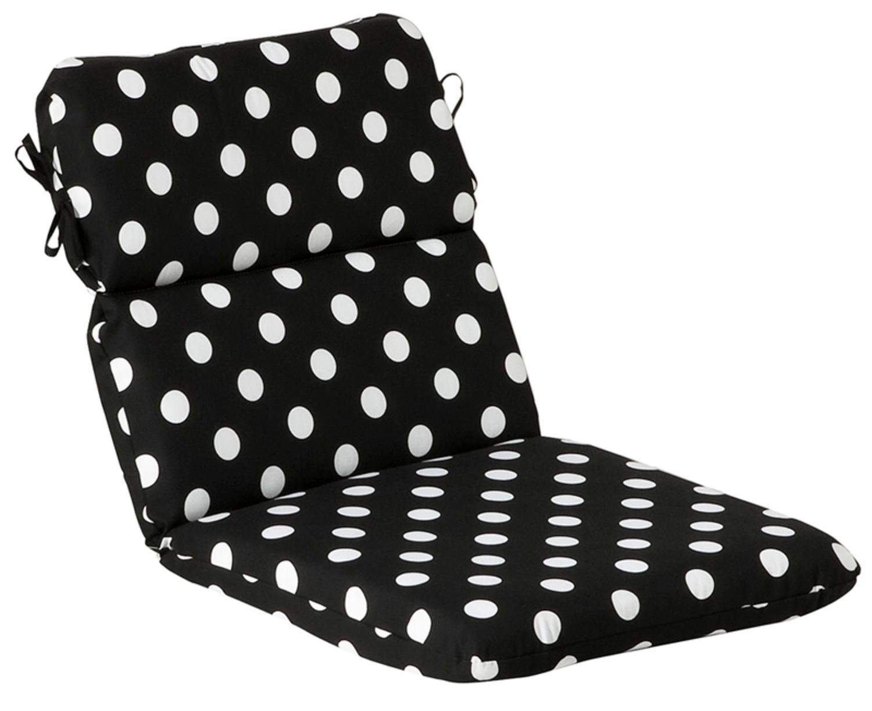 Outdoor Patio Furniture High Back Chair Cushion Black White Polka Dot
