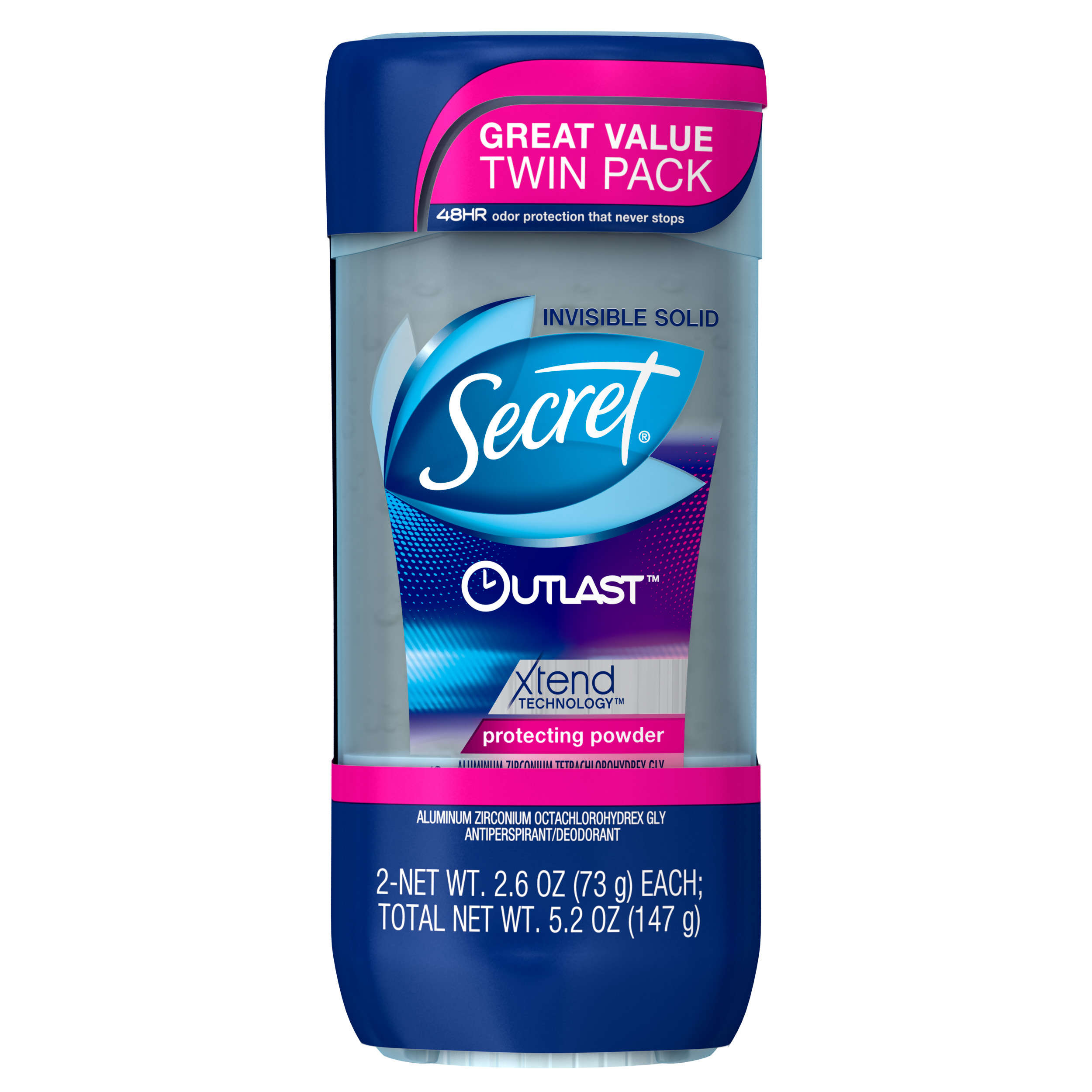 Secret Outlast Xtend Antiperspirant Deodorant, Protecting Powder Clear Gel, 2.6 oz Twin Pack