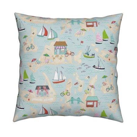 Summer Travels Summer Beach Throw Pillow Cover w Optional Insert by