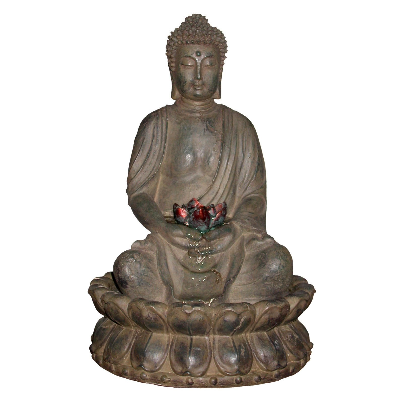 Buddha In Lotus Flower Tabletop Fountain With Led Light by Benzara