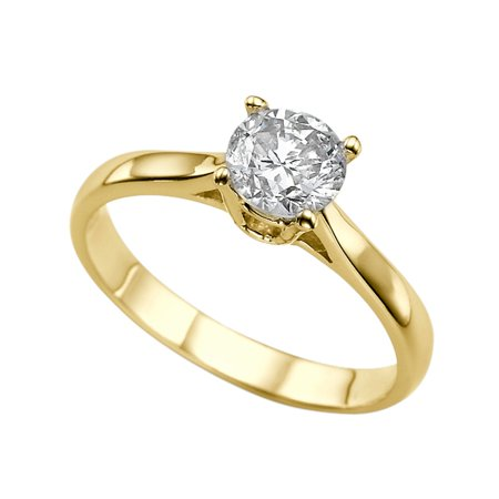 1 Carat (DEW) Moissanite Engagement Ring Forever One 14K Yellow Gold Classic Cathedral Round Cut 6.5MM (White And Yellow Gold Engagement Ring Settings)