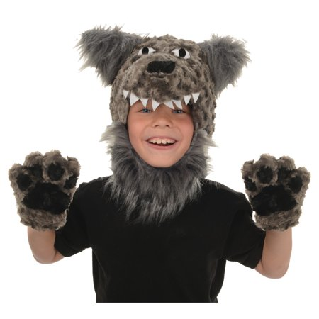 Toddler Gray Wolf Animal Pack Hood & Mitts Halloween Costume Accessories (Wolf Halloween Costume Toddler)