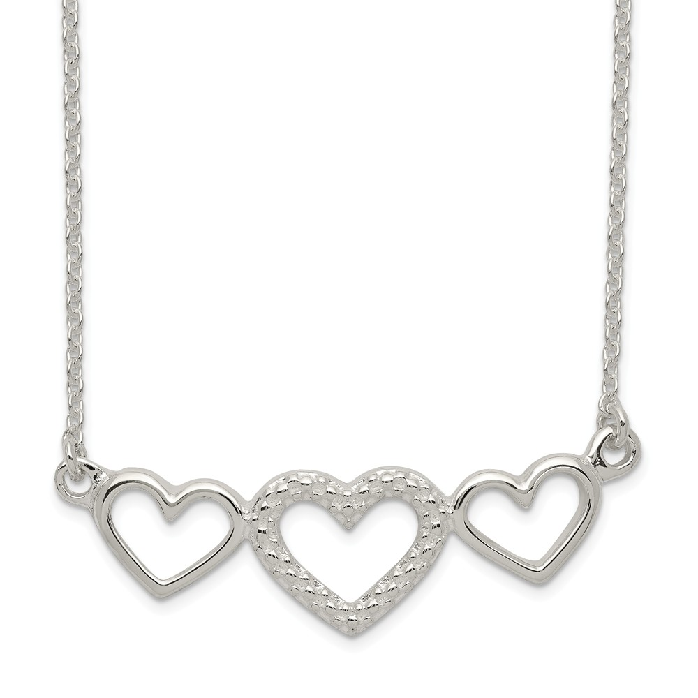 Sterling Silver 18in Polished/Textured Three Heart Necklace