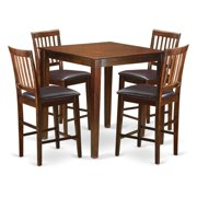 East West Furniture VERN5-MAH-W 5 Piece Pub Table Set-Counter Height Table and 4 Kitchen Chairs