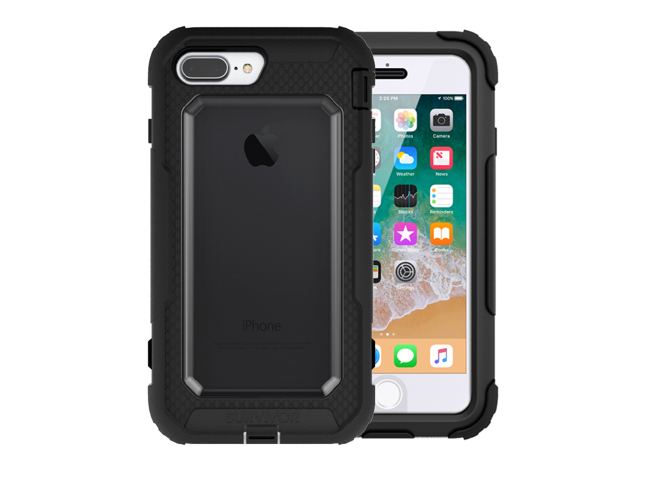 new style c64c9 5880e Griffin, iPhone 8 Plus Rugged Case, Survivor All-Terrain with Belt Clip,  Impact Resistant, 10 ft drop protection, Black/Clear
