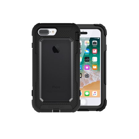 Griffin, iPhone 8 Plus Rugged Case, Survivor All-Terrain with Belt Clip,  Impact Resistant, 10 ft drop protection, Black/Clear