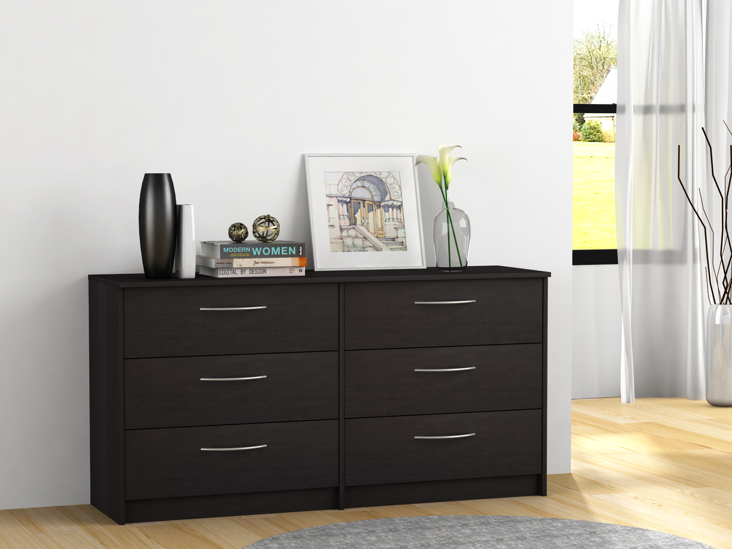 Homestar Finch Collection 6-Drawer Dresser, Multiple Finishes by HOMESTAR NORTH AMERICA LLC