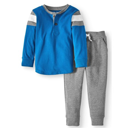 Long Sleeve Henley Shirt & French Terry Jogger Pants, 2pc Outfit Set (Toddler Boys) - Toddler Boy Valentine Outfit