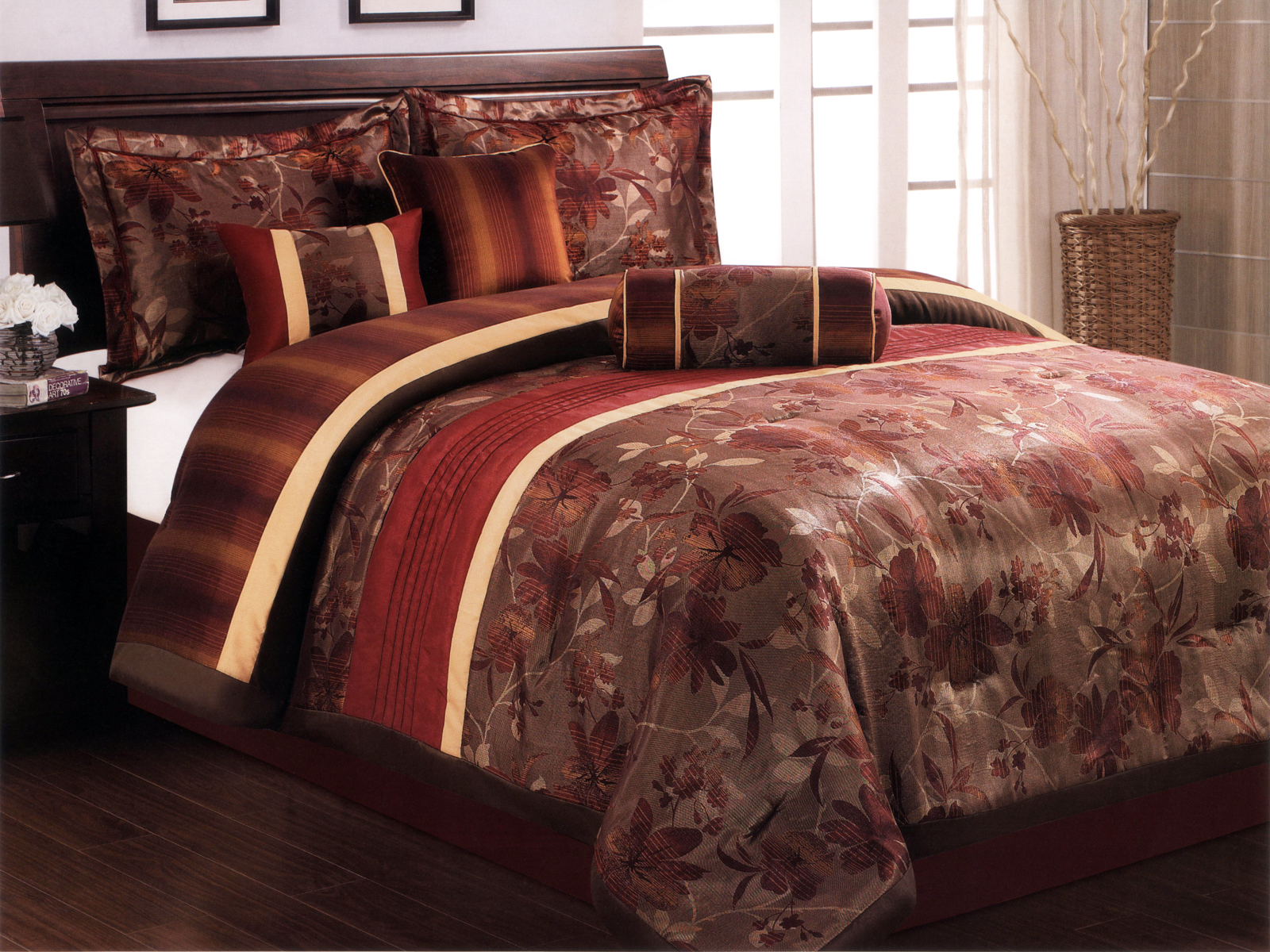 cotton rust dp comforter orange piece and quilt collection com kitchen home twin solid shams washed set amazon chezmoi vintage
