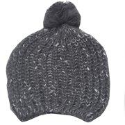 Girls Grey White Rib Stitch Knit Pompom Bobble Beanie Hat