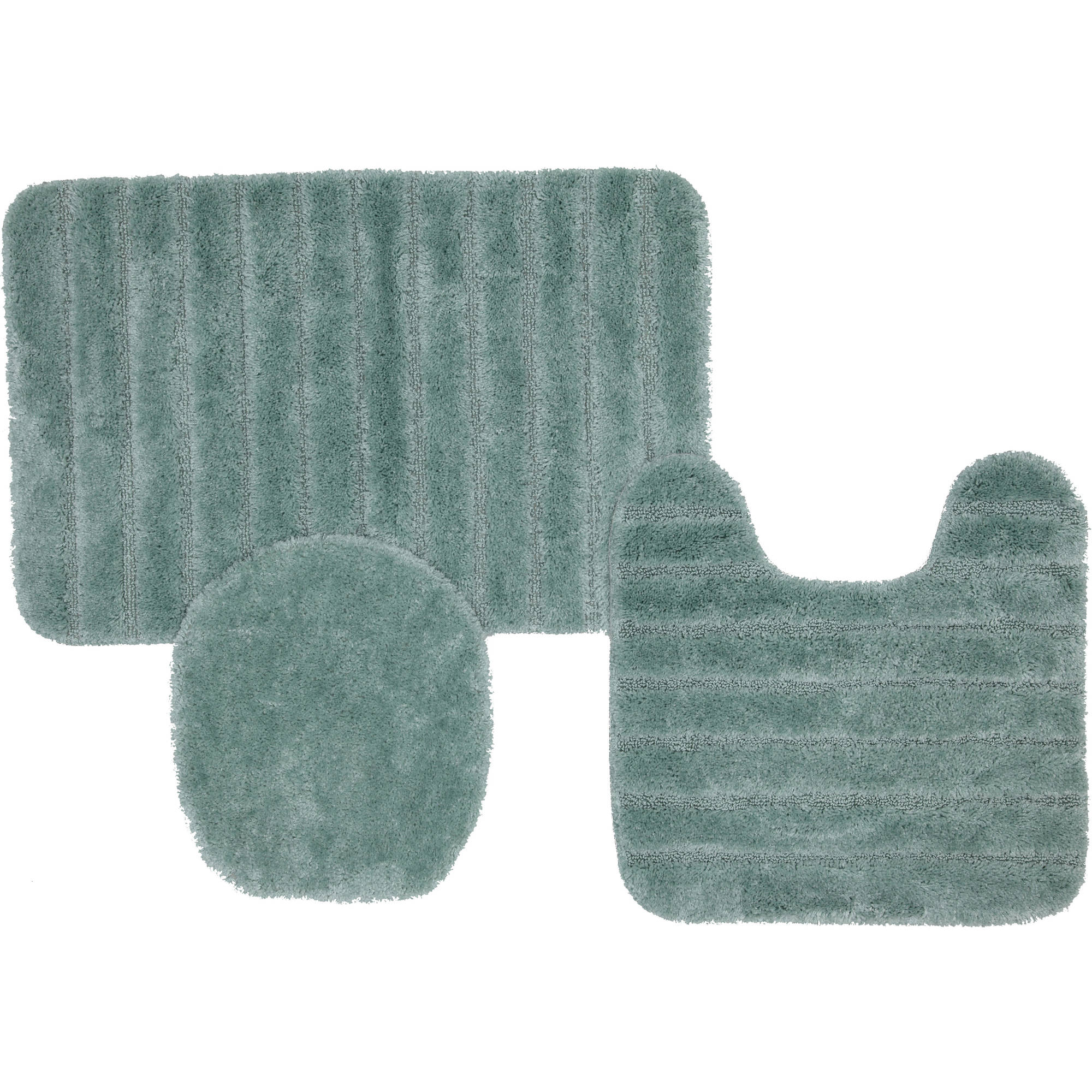 exceptional 3 Piece Bath Rug Part - 3: Mohawk Home Solid Stripe 3-Piece Nylon Bath Rug Set - Walmart.com
