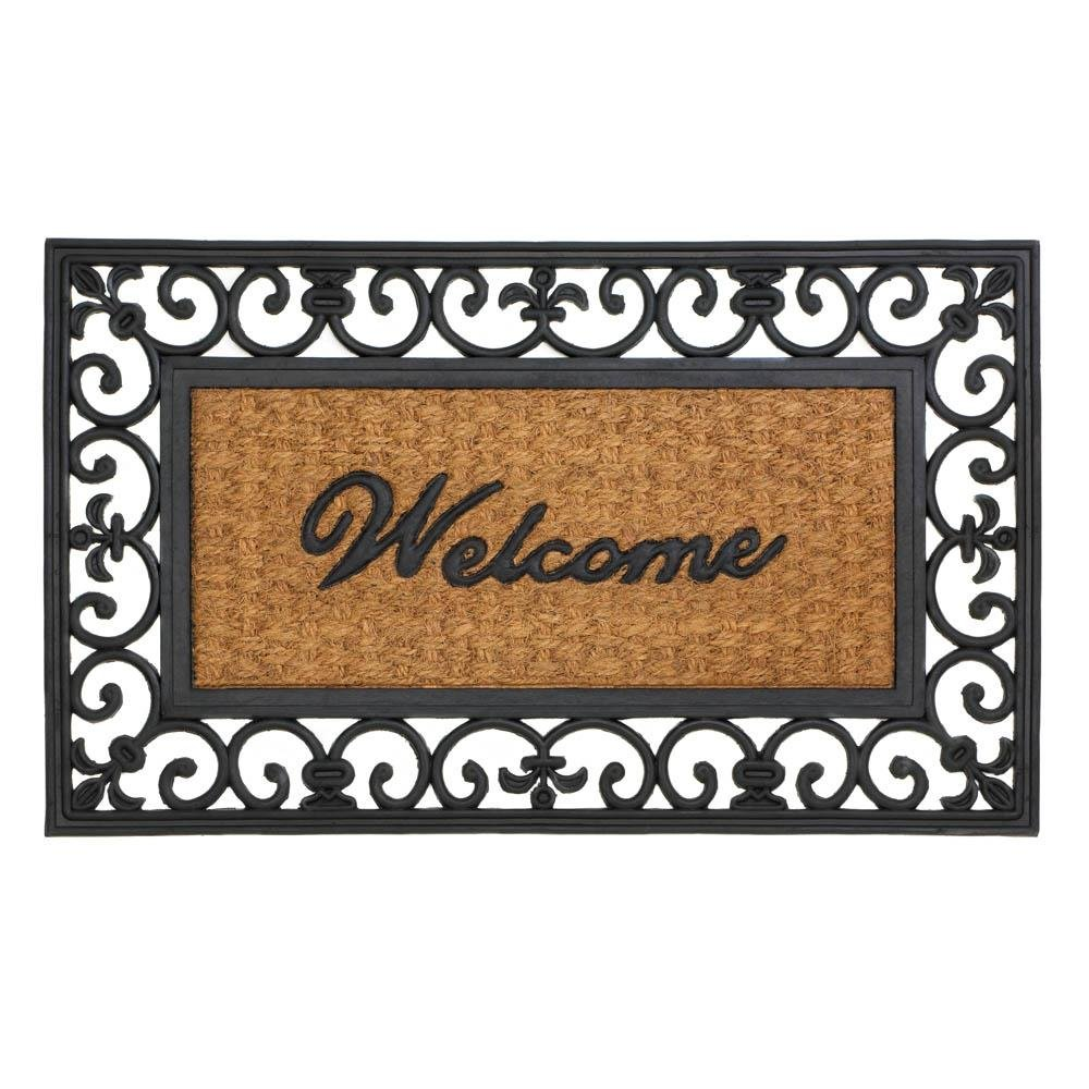 Coir Doormat, Fleur-de-lis Framed Outdoor Decorative 18x30 Welcome Mat