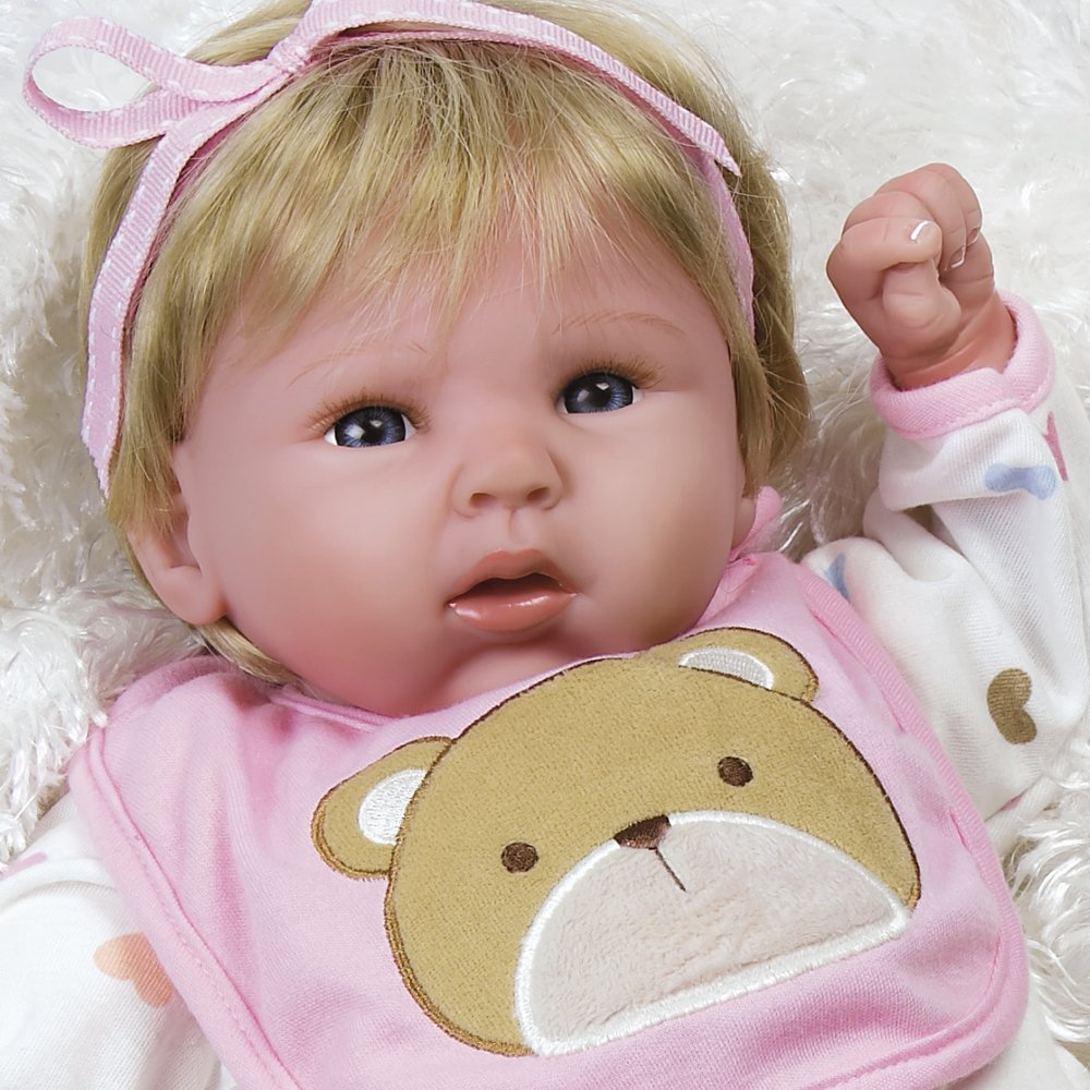 "Paradise Galleries Lifelike Realistic Soft Vinyl Weighted 19 inch Baby Girl  Doll Gift ""Happy Teddy"" Great to Reborn"