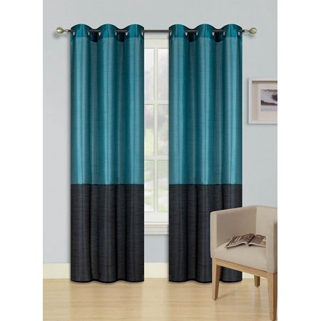 2pc TEAL BLUE BLACK HEIDI Faux Silk Drape Panel Top Chrome Metallic Grommet Window Curtain Treatment Drape 2 Shade 37 wide x 84 (Wide Shades)