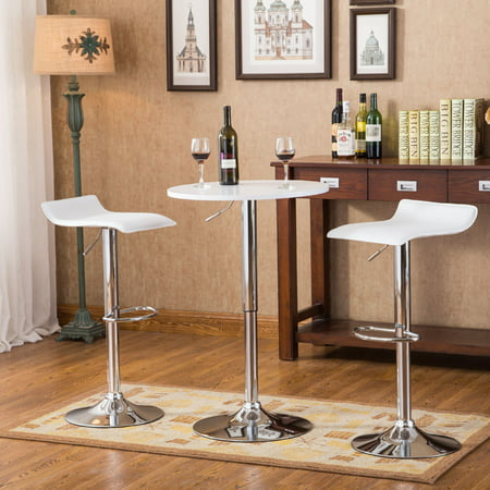 Roundhill Furniture Baxton White Adjustable Height Wood and Chrome Metal Bar Table and 2 Chrome Air Lift Adjustable Swivel Stools Set ()