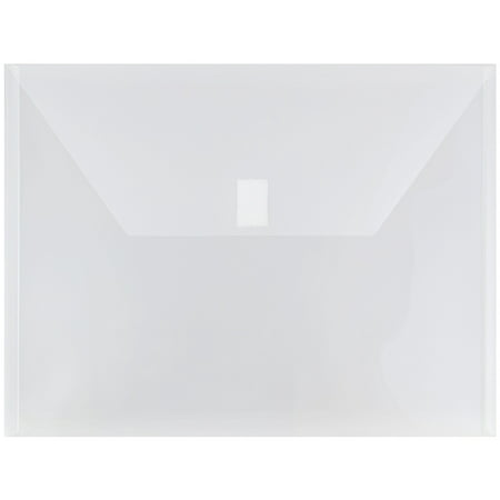 JAM Paper Plastic Envelopes with Hook & Loop Closure, Letter Booklet, 9 3/4 x 13, Clear, 12/Pack