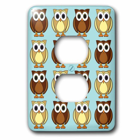 3dRose Cute Brown Owl Print Blue 2 Plug Outlet Cover lsp 28542 6