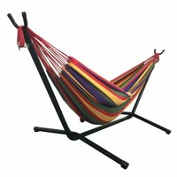 Akoyovwerve Portable Outdoor Polyester Hammock Set Garden Swing Set indoor Swing Bed Spreader With Space Saving Steel Stand,Red