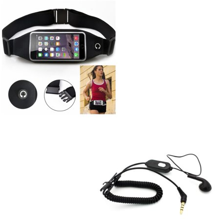 Black Sports Running Workout Waist Bag Belt Case w Coiled Headset MONO Handsfree Earphone Earbud R8K for HTC Desire 612 555 530 526 516 512 510 - Huawei SnapTo, Pronto, Raven, P9 P10